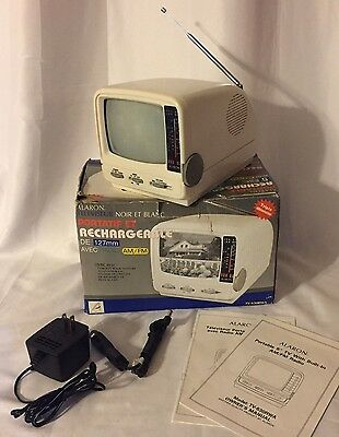 WORKING Vtg Alaron Portable TV AM/FM Radio Rechargeable Model TV-630RWA Car Boat