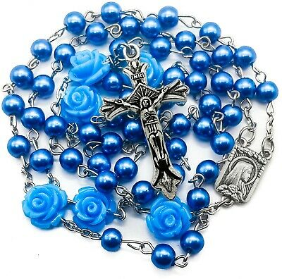 Catholic Blue Pearl Beads Rosary Necklace Our Rose Flowers Lourdes Medal Cross