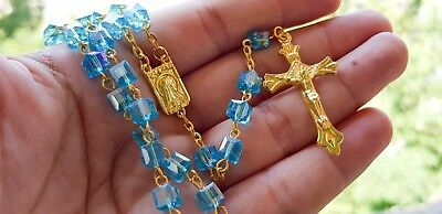 Square Turquoise Crystal Beads Rosary Catholic Necklace Lourdes Medal Crucifix