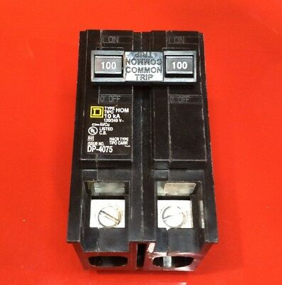 New Circuit Breaker Homeline Square D HOM2100 2 Pole 100 Amp  120/240V HOM2100C