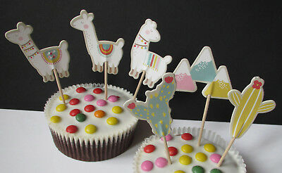 Lama - Alpaca - Kaktus - 24 Cupcake Muffin Cake Topper Picks - Käsepicks - Party