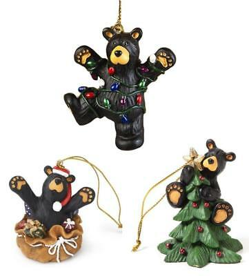 Big Sky Carvers Bearfoots Black Bear Christmas Tree Fun Ornaments Set