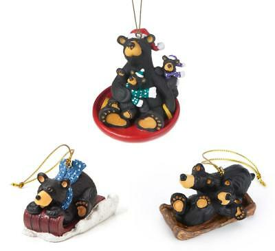 Big Sky Carvers Bearfoots Black Bear Christmas Ornaments Set, Sledding Fun