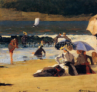 Homer Winslow By The Shore Artist Painting Handmade Oil Canvas Repro Art Deco