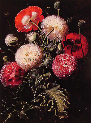 Still Life Pink Red White Poppies Artist Painting Reproduction Oil Canvas Repro