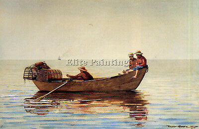 Homer Winslow Three Boys Dory Lobster Pots Artist Painting Oil Canvas Repro Deco