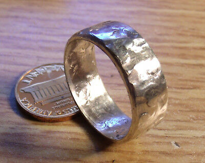 STERLING SILVER MENS HAMMERED SILVER RING, BAND SIZES  8-15, 10 Grams & 10mm's