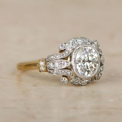 1.6 Ct Diamond Vintage Edwardian Circa 1920-25 Antique Engagement Art Deco Ring