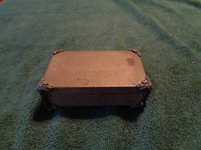 Vintage Antique Small Metal (does not attract magnet) 4 Footed Trinket Box