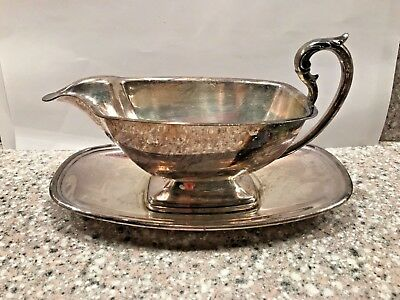 Vtg Gravy Sauce Boat W/ Handle & Separate S J Copper On Silver Plate Drip Tray
