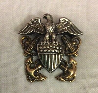 Vtg WWII Sterling Silver & 10KGF US Navy Emblem Insignia Pin Anchor Eagle Shield