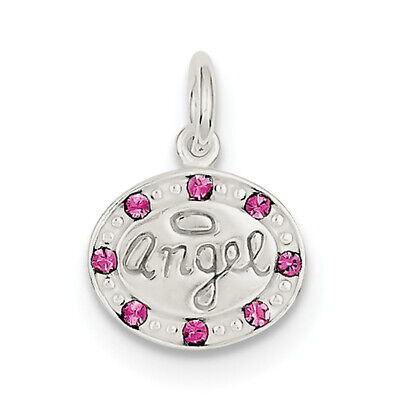Sterling Silver w/ Stellux Crystal Angel Pendant QC6034