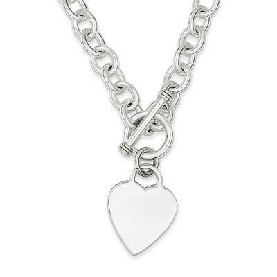 Sterling Silver Heart Fancy Link Toggle Necklace 18""