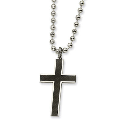 4c86511405dd0 MENS CARBON FIBER Cross Pendant Silver/Gold Stainless Steel Necklace ...
