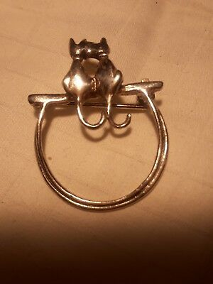 Vtg 925 Sterling Silver Two Kitties sitting- Pin Brooch
