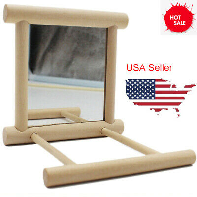 US Wooden Bird Toy Mirror Stand Platform Toys for Parrots Cockatiel Vogel