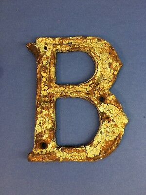 "Antique Vintage Heavy Cast Iron Metal Letter ""B"" 5"" X 6"" Old Rustic Beauty!"