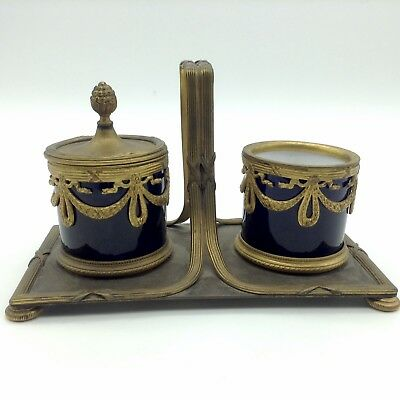 Antique French Cobalt Blue Gold Ormolu Gilt Decoration Wreath Double Inkwell