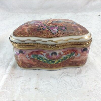 Capodimonte France Figural Trinket Jewelry Hinged Box Antique Roses