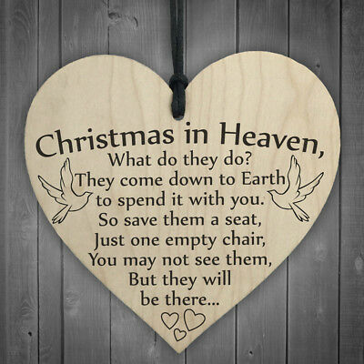 1x Christmas In Heaven Plaque Sign Best Friend Gift Shabby Chic Heart Birthday