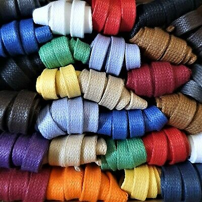 Waxed Cotton Laces - 9 mm Flat -  100% cotton polished with natural beeswax