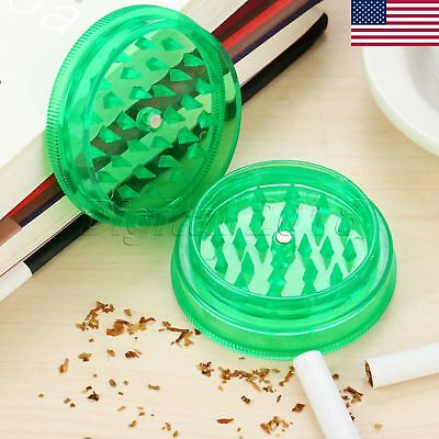 US STOCK 1Pc Portable Plastic 2 Layer Grinder Herb Spice Tobacco Crusher 60x25mm