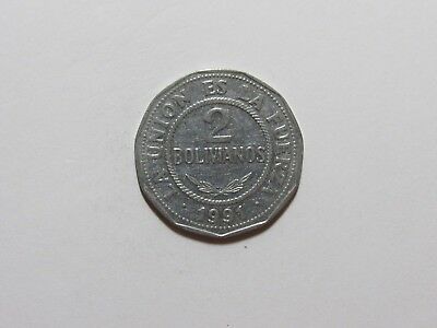 Old Bolivia Coin - 1991 2 Bolivianos - Circulated