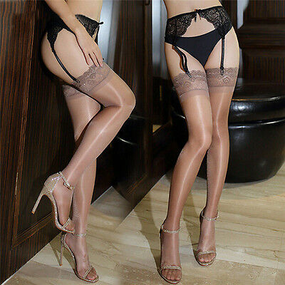 Femmes Collants Minces Huile Brillante Collants Brillants Cuisse-Hauts
