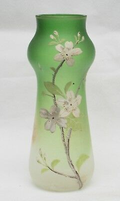 Antique Bohemian Green Glass Vase with Hand Painted Floral Branch