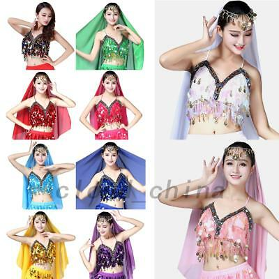 Sparkle Belly Dance Bra Sequined Beaded Top Dancing Costume Fringe Costume AU