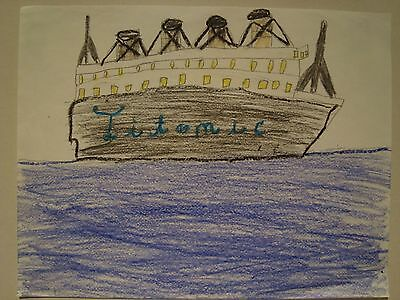 Titanic Rms Ocean Liner Kid Drawing By 9 Year Old Artist Departing Southampton