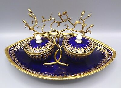Superb 18th Century Sevres Jewelled Ormolu Encrier / Inkwell