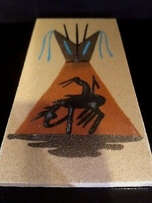"Authentic Native American Navajo 6"" By 3"" Sandpainting Signed JJ #123"