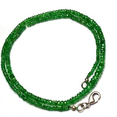 "Natural Gem Faceted Tsavorite 2-4Mm Size Rondelle Beads Necklace 16""green Garnet"