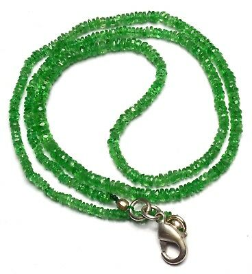 "Natural Gem Faceted Tsavorite 2 To 3Mm Rondelle Beads Necklace 17"" Green Garnet"