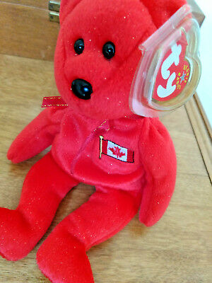Ty bear Beanie Babies Pierre red with gold glitter New with tags
