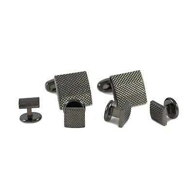 Classic Gunmetal Tone Micro Dots Square Cuff Link And Shirt Studs Formal Set1679