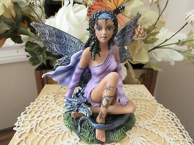 African American Fairy Figurine with Black Dragon Pacific Giftware New in Box!