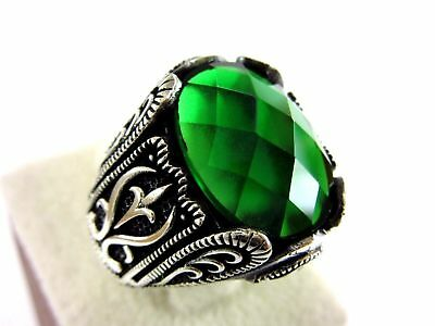 Handcraft Jewelry 925 Sterling Silver  Green Emerald Mens Ring