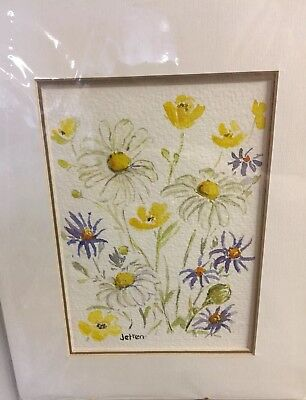 Country Flowers Original Doreen Jetten Watercolour Double matted -Frame Ready