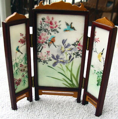 Vintage Chinese Miniature Folding Table Screen, Hand Painted on Glass Doll House