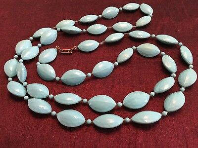 VTG 1950s Necklace Robins Egg Blue Atomic Age Mid Century Modern Faceted Acrylic