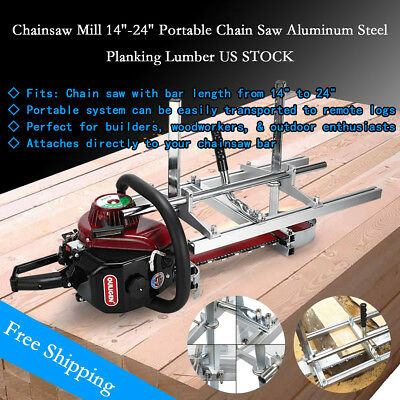 """Portable Chain Saw Mill Log Planking Lumber Cutting fit 14"""" - 24"""" Chainsaw"""