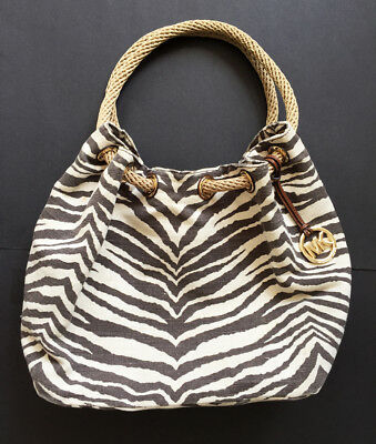 66f10af69e51 $198 MICHAEL KORS Animal Print Canvas Large Gathered Marina TOTE HANDBAG BAG