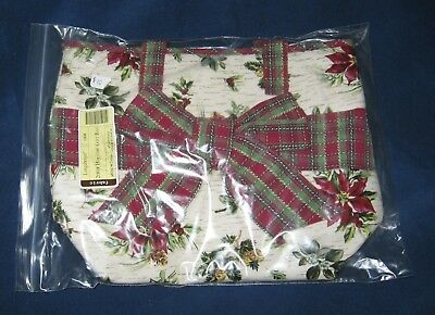 Longaberger 2008 HOLIDAY PLAID / HOLIDAY BOTANICAL Fabric GIFT Bag - TOTE