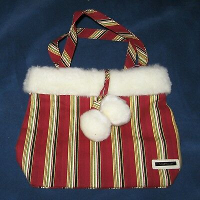 Longaberger Homestead HOLIDAY STRIPE Fabric & FUR-TRIMMED TOTE or GIFT Bag