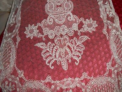 """1920's LACE WEDDING SHAWL 90"""" long AS IS"""