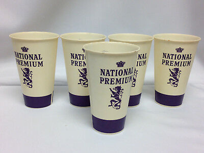 Lot Of 5 Vintage National Premium Beer Wax Paper 12 Oz Cups