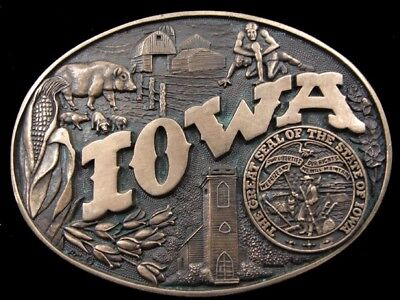 RD17136 VINTAGE 1980s **IOWA** STATE COMMEMORATIVE SOLID BRASS BARON BELT BUCKLE