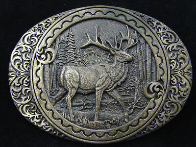 RD17130 VINTAGE 1980s **DEER IN FOREST** COMMEMORATIVE SOLID BRASS BUCKLE